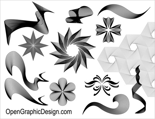 Included in this set are geometrical line art, line patterns, stars,