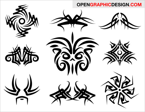 Tribal graphics are popular as tattoo drawings and decorative elements.