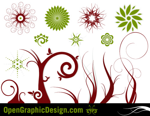 retro flower collage or floral wallpaper. swirl flowers vector graphics